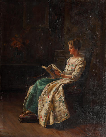 Margaret Dovaston (British, 1884-1955) Portrait of Helen Frances Goodwin, seated reading