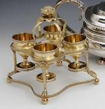 A George III silver-gilt quatrelobed egg cruet by Richard Cooke, London 1801