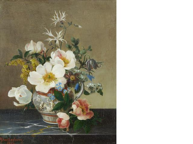 Adolf Blankenburg (German, 1830-1870) Still life of flowers on a marble ledge