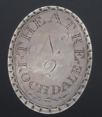 Of Rochdale Theatre interest; A George III silver theatre ticket unmarked, circa 1794