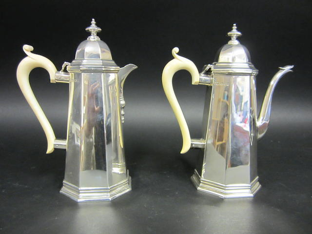A silver and ivory handled coffee au lait service by Mappin & Webb, London 1928