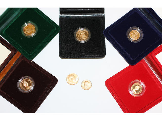 A collection of sovereigns, half sovereigns and coins,