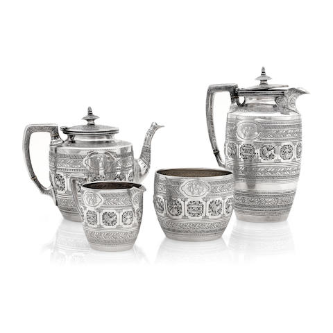 A Victorian four piece silver tea service by James Reid & Co., Glasgow 1884