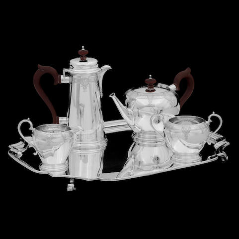 A Britannia standard cased silver tea service  by The Goldsmiths & Silversmiths Company Ltd, London 1935