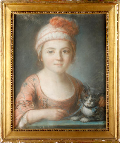 English School, 19th Century Portrait of a young girl with kitten