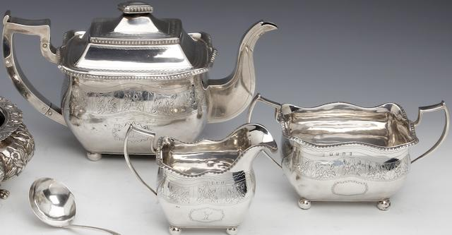 A George III Irish silver bright-cut three piece tea Service  probably by James Barker, Dublin 1813