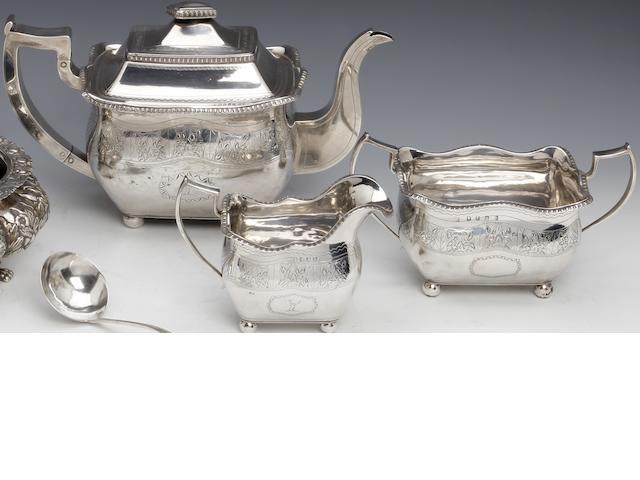 A George III Irish silver bright-cut three piece tea Service  probably by James Barker, Dublin 1813