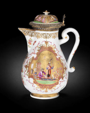 A Meissen silver-gilt-mounted coffee pot and cover circa 1723-24