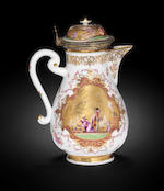 A rare Meissen silver-gilt-mounted coffee pot and cover, circa 1726-28
