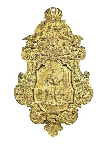 A late 17th/early 18th century Hugenot-style gilt-metal wall applique