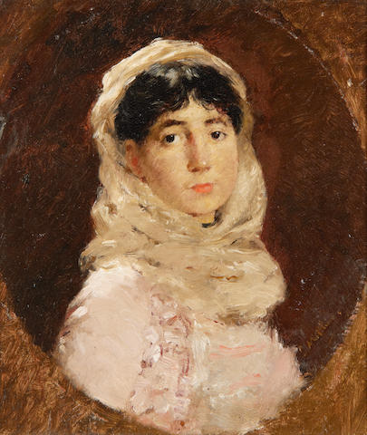 Continental School, 19th Century Portrait of a lady in a white headscarf