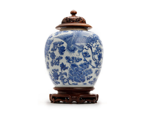 A Chinese blue and white jar, probably Kangxi