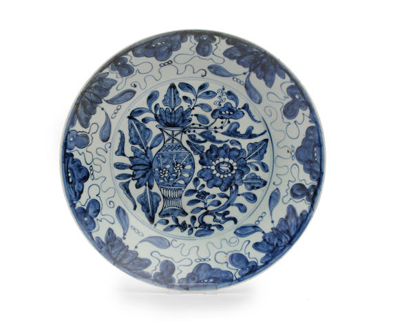 A Chinese blue and white dish, possibly produced for the Japanese market Late Ming Dynasty, circa 1630-50