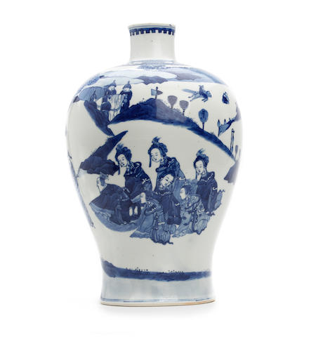 A Chinese blue and white Meiping vase Kangxi