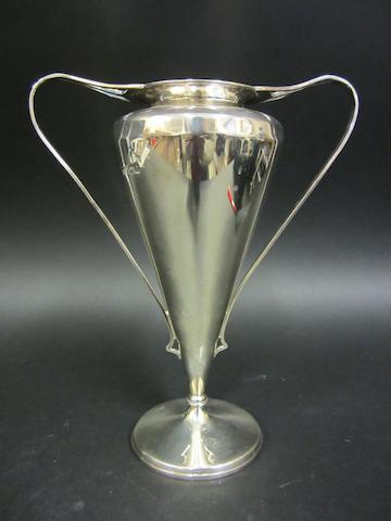 An Edwardian silver twin-handled vase by William Hutton & Sons, Birmingham 1905