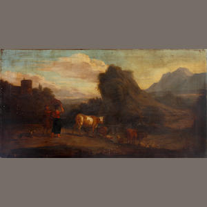 Dutch School, 19th Century Landscape with cattle drover in a carved frame.