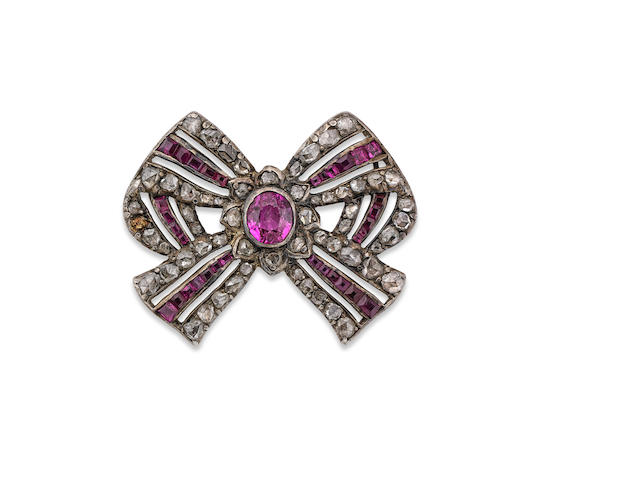 A ruby and diamond bow brooch, circa 1820