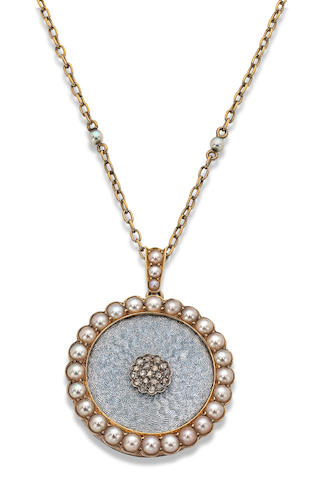 A late 19th century seed pearl and enamel pendant