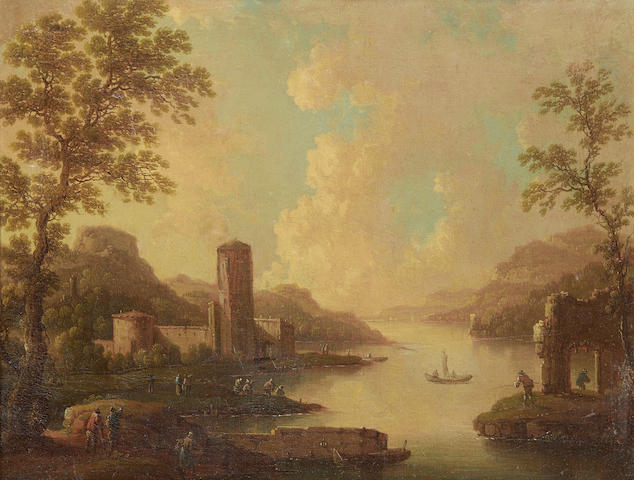 Italian School, 18th Century A classical landscape