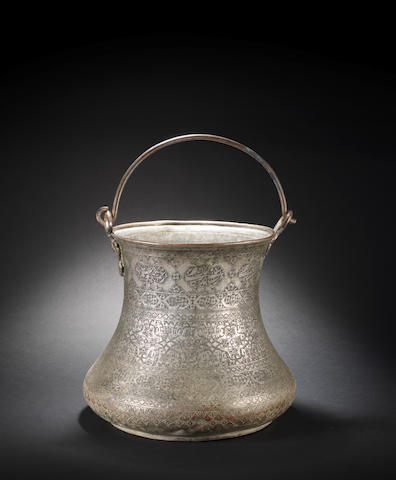 A large Safavid tinned-copper Bucket Persia, 17th Century