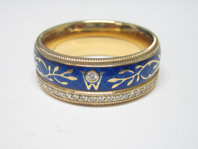 A gentleman's enamel and diamond ring, by Wellendorff