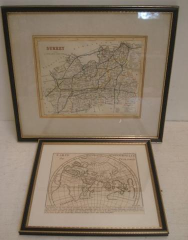 A New Map of Surrey, drawn from the latest Authorities, circa 1784, hand coloured and various others of Surrey, Essex and Hampshire, a Carte Universelle de Ptolomee and two others of the sun, all mounted, framed and glazed.