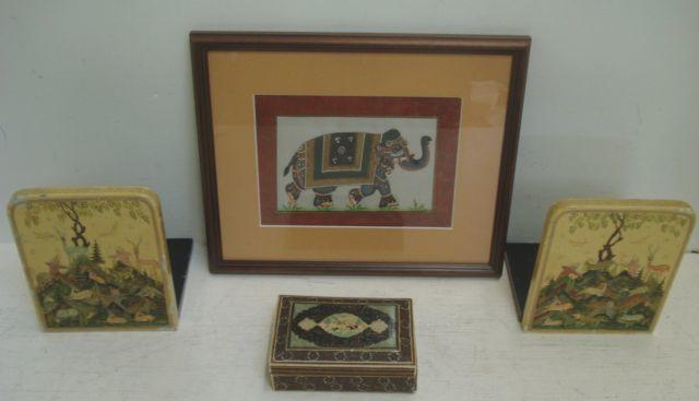 A mogal miniature of a elephant, 20th Century, wearing ceremonial trappings, 13.5 x 18.5cm, and various others, all mounted, framed and glazed, a pair of similar lacquered folding bookends and a trinket box.