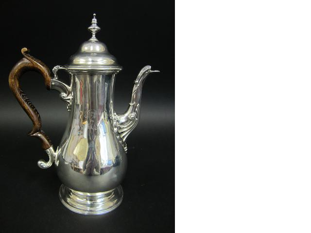 A George III silver baluster coffee pot probably by William Cripps,  London 1762