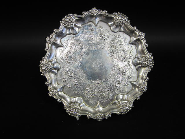 A Victorian silver circular salver by William Barnard, London 1878