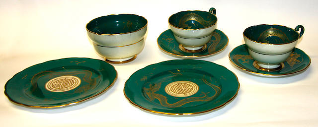 A Paragon green and gilt 'Dragon' teaset
