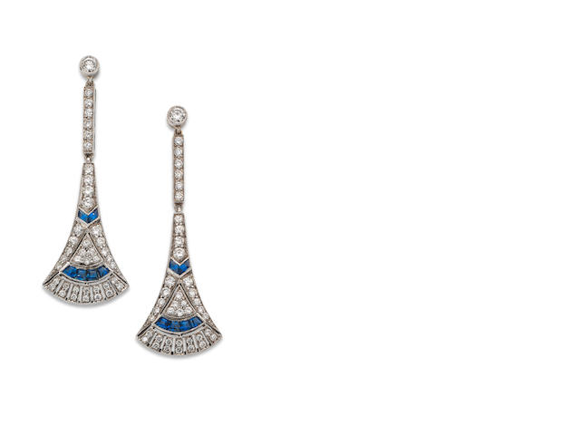 A pair of Art Deco sapphire and diamond pendent earrings