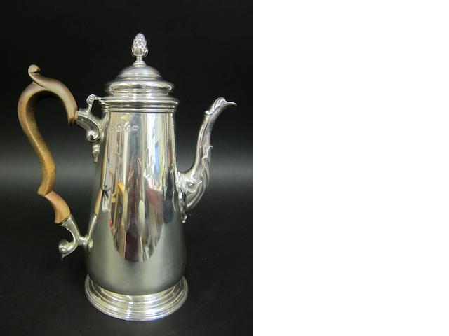 A George II silver baluster coffee pot by Thomas Whipham, London 1748