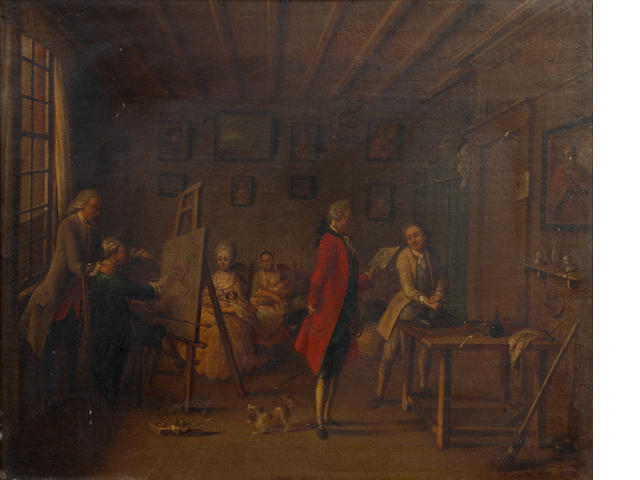 English School, late 18th/early 19th Century The artist's studio
