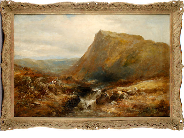 English School, 19th century Highland landscape with two fishermen by a river