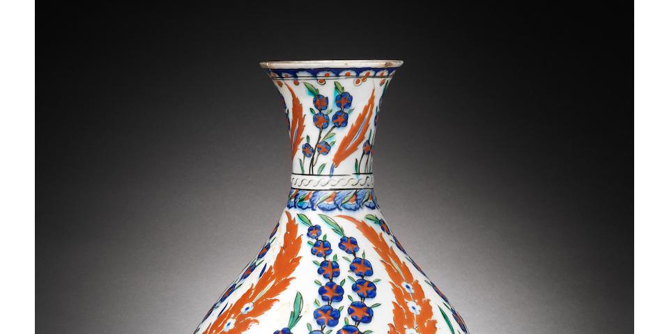 A rare, large Iznik pottery Bottle, Turkey,  circa 1575