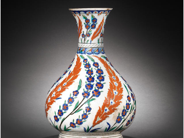 A rare, large Iznik pottery Water Bottle (surahi) Turkey, circa 1575