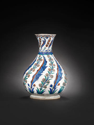 A rare, large Iznik pottery Bottle Turkey, 1575
