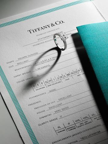 A diamond single-stone ring, by Tiffany & Co
