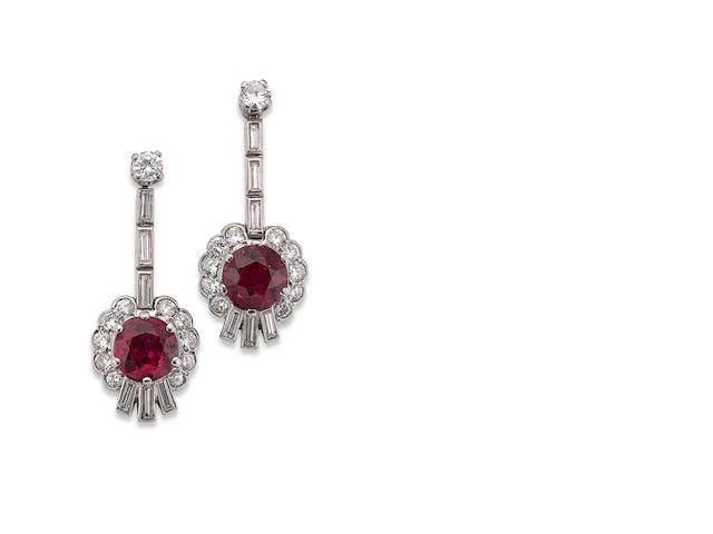 A pair of Art Deco ruby and diamond pendent earrings