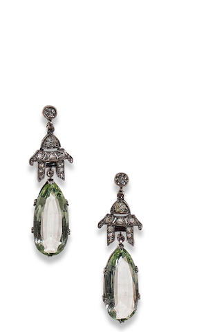 A pair of aquamarine, diamond and onyx pendent earrings