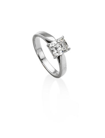 An Asscher-cut diamond single-stone ring