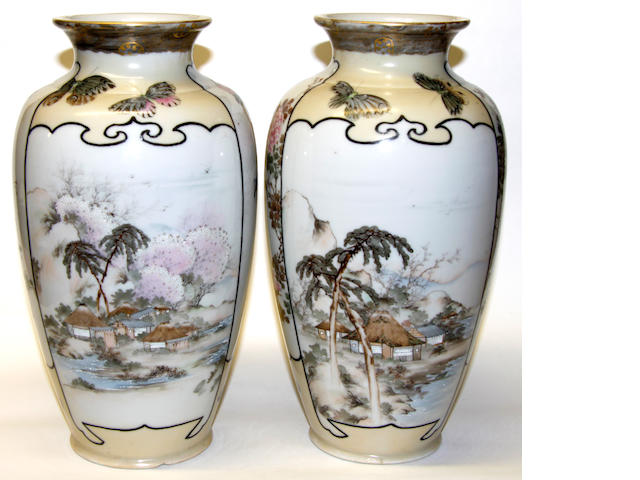 A pair of Japanese porcelain vases, early 20th Century