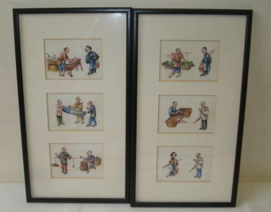 A set of twelve Canton pith paper pictures, framed in groups of three depicting various artisans and vendors,each image 7 x 10.5cm. (4)