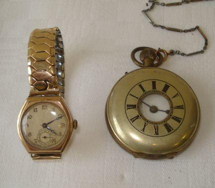 A gents mid size 9ct gold cased wrist watch, by Adie Morleys Watch Co, the Dennison case hallmarked Birmingham 1932, together with a half hunter cased pocket watch on two colour base metal chain.