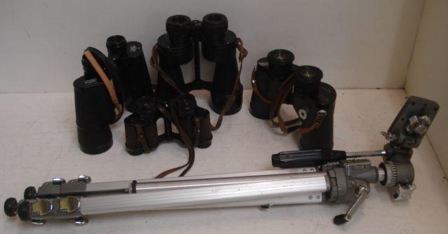 A pair of Carl Zeiss Jenoptem 10 x 50 W  binoculars, and three other pairs of binoculars by Kershaw The Oxford, Ross Stepmur & Swift Audubon, all in leather carrying cases, and a Velbon tripod.(5)