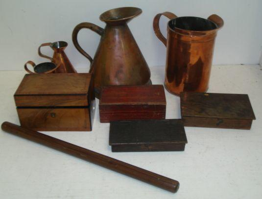 A Victorian walnut and crossbanded rectangular two compartment tea caddy, 18cm, a set of brass beam scales by W & T Arey in original oak case, and another set, in oak case with weights, rolling ruler, turned boxwood chess set, one half stained black, Victorian copper haystack half gallon jug, one and a half gill similar and two others.