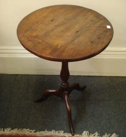 A George III mahogany baluster turned column wine table, with tripod base and associated circular top, 49cm, and a collectors pine stained as mahogany table top seven drawer cabinet, 51.5cm. (2)