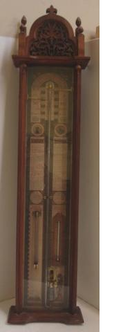 A reproduction mahogany cased Admiral Fitzroy's barometer,113cm.