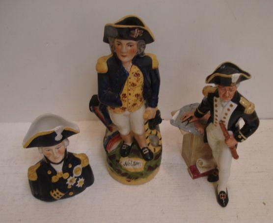 A Royal Doulton figure, 'The Captain', HN 2260, a reproduction Staffordshire Nelson character jug and a Wood & Sons similar, two plates Commemorating Lord Nelson, Royal Observer Corps plate, and three Coalport plates and a mug, three being Limited Editions, Battle of Britain and other RAF.