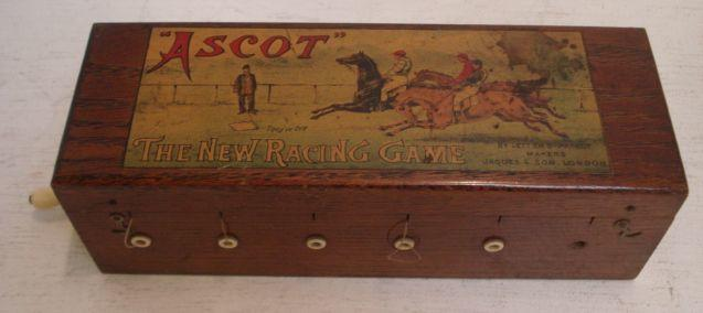 'Ascot' The New Racing Game, by Letters Patent makers Jaques & Son, London, the fitted oak case with ivory and brass mounts, 29cm.